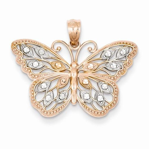 - 14k Rose Gold Rhodium Plated Diamond Cut Butterfly Pendant Average Weight:1.44 Grams Metal:14k Rose Gold Bail Length:5 mm Product Type:Jewelry Jewelry Type:Pendants & Charms Material: Primary:Gold M