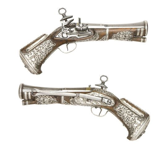 A Rare Pair Of South American Silver-Mounted Miquelet-Lock Blunderbuss Belt Pistols Late 18th Century, Probably Mexican