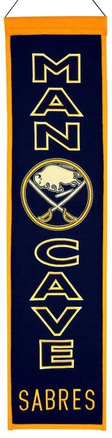 "$40.50 - NHL Buffalo Sabres Man Cave Banner - Your favorite space deserves a little bit of your favorite NHL team, and this Buffalo Sabres banner is just the ticket. Ready to hang 32""H x 8""W Wool Spot clean Imported Shop our full assortment of Buffalo Sabres items here. When you're a fan, you're family! Size: One Size. Color: Multicolor."