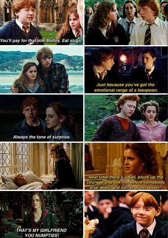 """Day 12 Favorite Couple/Canon Ship: Romione. It was amazing to see their relationship grow from """"She's a nightmare honestly"""" to """"It's now or never isn't it?"""" I'm just a firm believer (aka fangirl) of friendships turning to romance. They may have bickered a lot about everything, but the fact that they were constantly getting on each other's nerves means they're always """"aware"""" of the other's presence. (the romantic tension was real ok) Hermione always helped Ron believe in himself more, and R"""