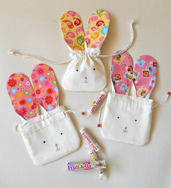 Easter Bunny Gift Bag- Cute Easter Bunny Drawstring Pouch- Bunny Rabbit Mini…