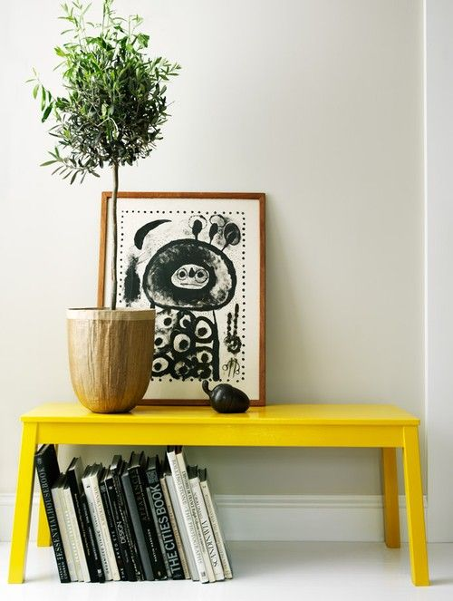 Simple & Chic Vibrant Vintage Home Decor Ideas - yellow bench