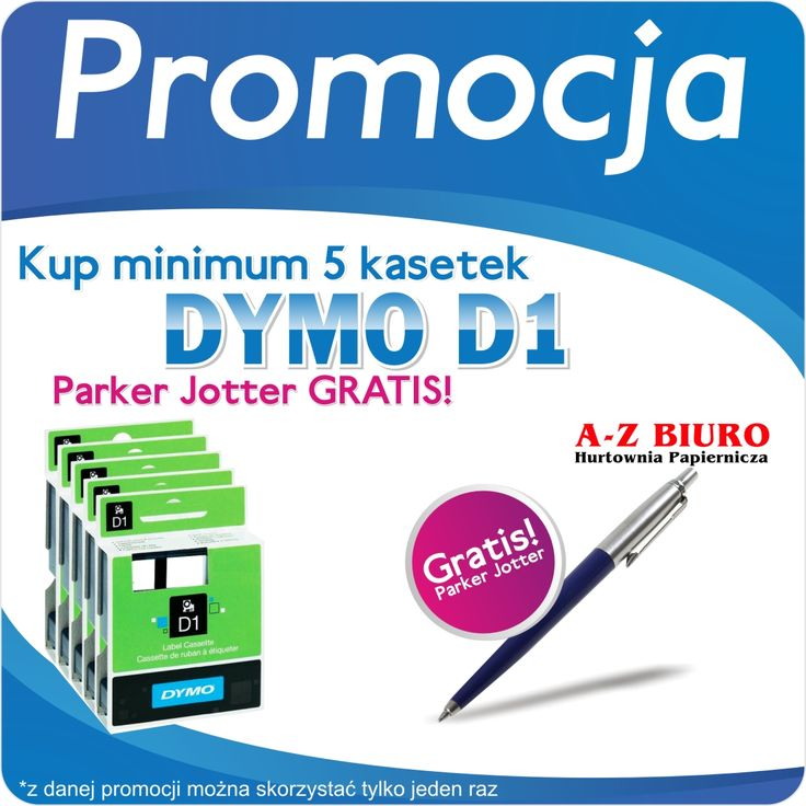 Promocja na kasetki DYMO  Kup min. 5 kasetek DYMO D1, lub więcej a otrzymasz długopis PARKER Gratis . http://azbiuro.pl/pl/promocje/az_dymo_11_2014 Promocja trwa do wyczerpania gratisów . * Uwaga z podanej promocji można skorzystać tylko jeden raz i nie łączy się z żadną inną promocją DYMO !