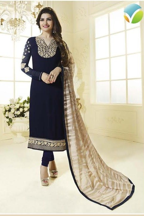 Classy and lovely  prachi desai , navy Georgette straight cut style suit with brasso dupatta.  #indianfashion #AsianPartyWear #IndianDesignerWear #AnarkaliSuitsUK #SalwarKameezOnline #DesignerAnarkaliSuits #designs #indian #fashion #womens #style #clothes #stylish #fashionsbyindia