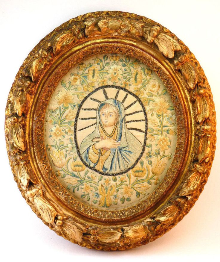 c1730, ANTIQUE 18th CENTURY FRAMED RELIGIOUS EMBROIDERY OVAL PANEL, VIRGIN MARY