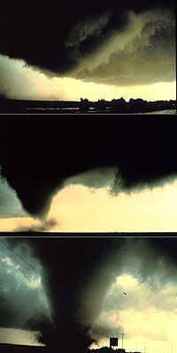 Tornadogenesis is the process by which a tornado forms. There are many types of tornadoes, and each type of tornado can have several different methods of formation. Scientific study is ongoing, as some aspects of tornado formation remain a mystery.