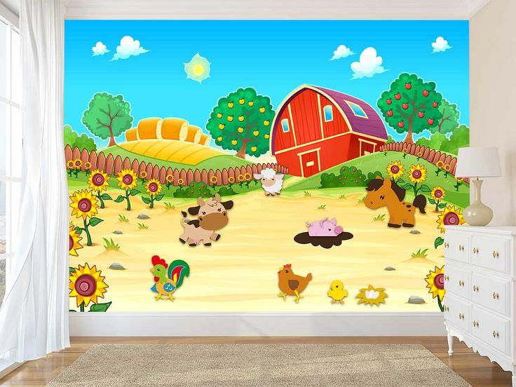 Dit vrolijke fotobehang wil elk kind wel in de kamer. Leuke boerderijdieren fleuren de kinderkamer op. En dat maar voor 14,95 per m2