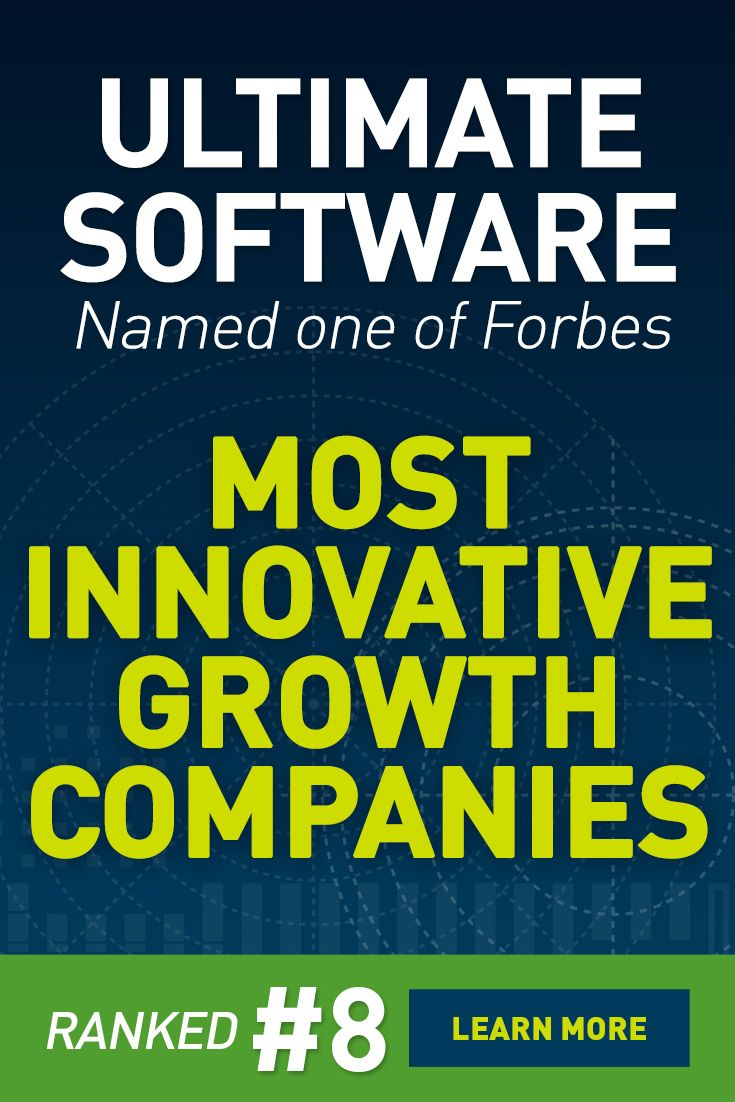 "Ultimate Software Ranked #8 on Forbes List of 100 Most Innovative Growth Companies! ""We are honored to rank so highly for the third consecutive year on Forbes' prestigious list."" said Scott Scherr, CEO, president, and founder of Ultimate Software."