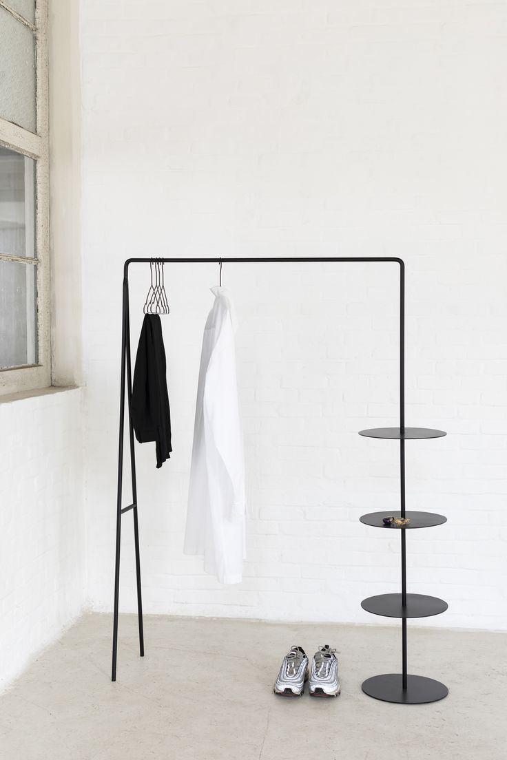 DISCUS by Pepijn Tyvaert - He has not even graduated yet, and has already won the design competition that Serax organised in collaboration with the Belgian magazine Weekend Knack. He achieved this with DISCUS, a multifunctional steel clothes rack.  #serax #clothesrack #discus #competition #designcompetition #design #interiordesign #belgiandesign #pepijntyvaert #multifunctional #steel