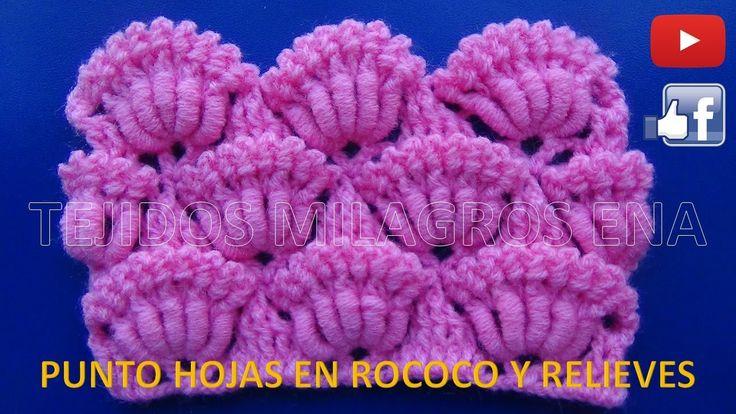 Punto N°19 Hojas en Rococo y relieves Crochet Ganchillo , points crocheted