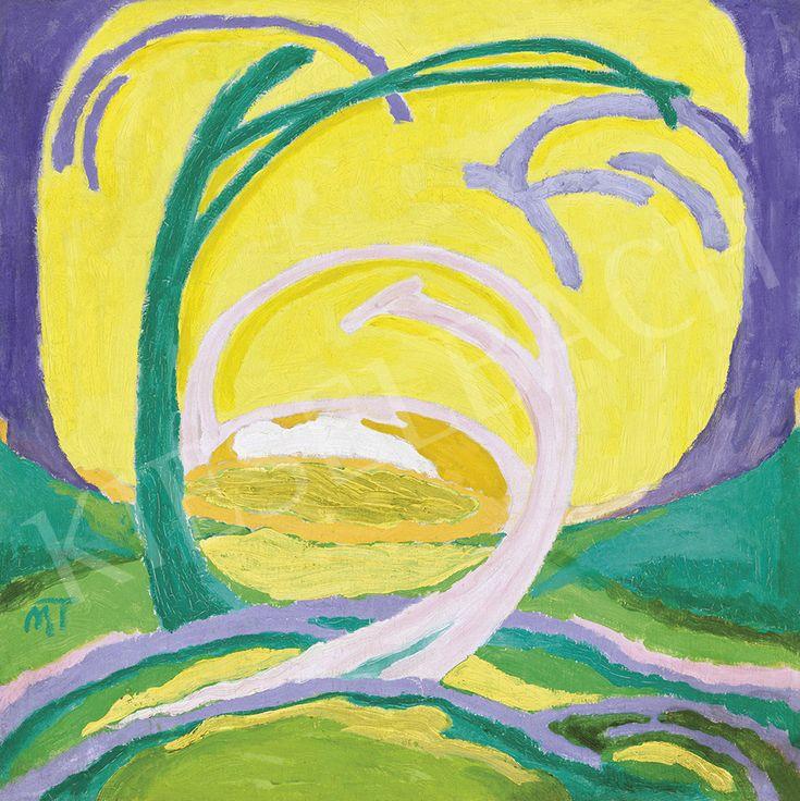 Mattis-Teutsch János - Zöld-sárga táj (Sárga táj), 1918 körül | 54. Téli aukció aukció / 140 tétel