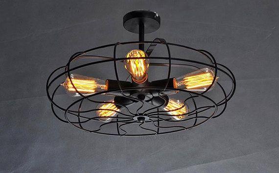 VENTE industriel Vintage 5 ampoule au plafond ou mur ventilateur lustre / lampe rustique look. Antique