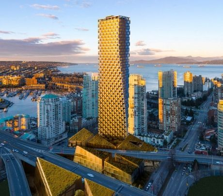 The tower that started it all, Vancouver House by Danish architect Bjarke Ingels, will occupy a triangular lot at the north end of the Granville Street Bridge.