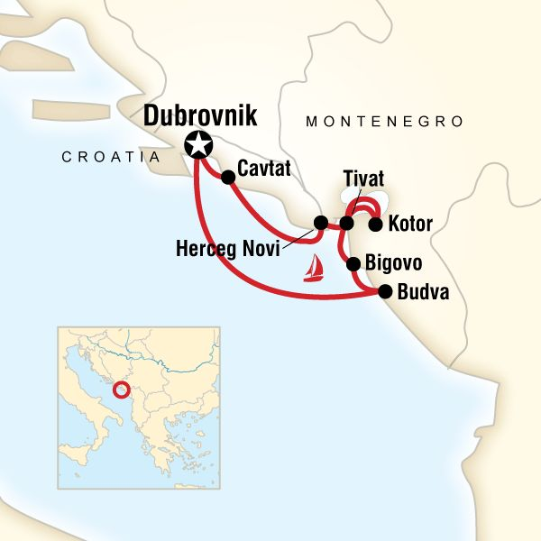 Map of the route for Montenegro Sailing - Dubrovnik to Dubrovnik