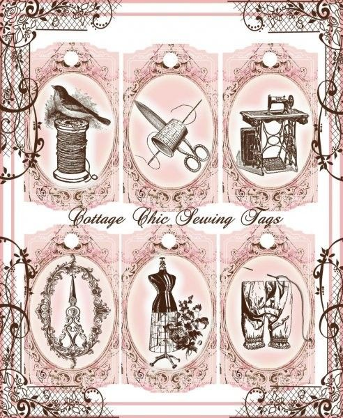 FREE printable vintage sewing images / tags. Print off to add some vintage inspiration to your sewing room.