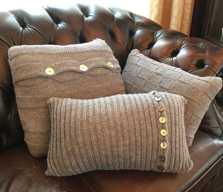 Hand knitted cushions by Sabrina