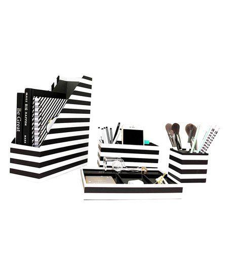 Blu Monaco Black & White Stripe Four-Piece Desk Organizer Set | zulily