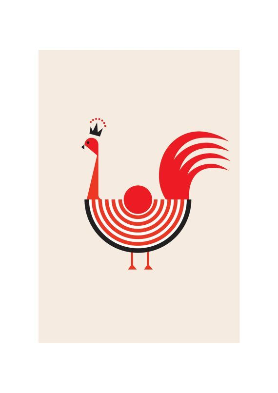Rooster Art Print Animal Illustration Modern Home by dekanimal, $18.00