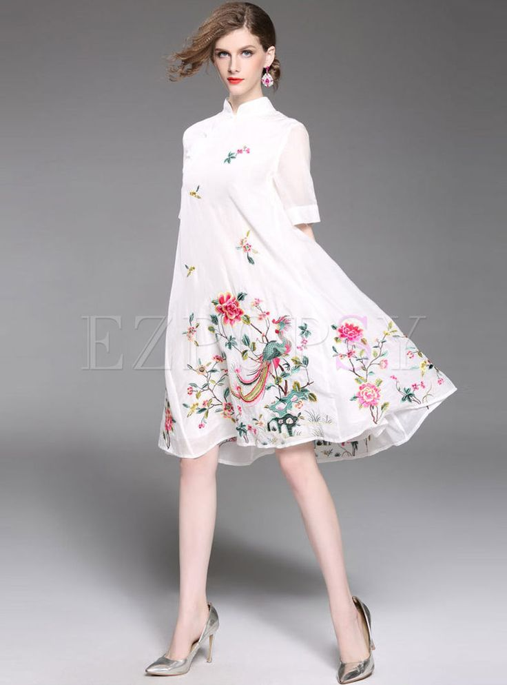 Shop for high quality Vintage Embroidered Stand Collar Loose Shift Dress online at cheap prices and discover fashion at Ezpopsy.com