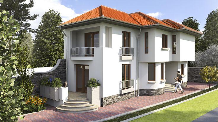 Locuinta unifamiliala organizata functional pe parter si etaj- Zona acces principal | Modern house- The main acces zone