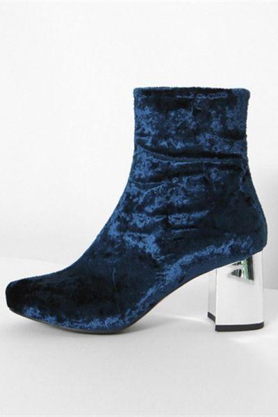 35c830998aa Chunky High Heel Blue Velvet Mid Calf Boots