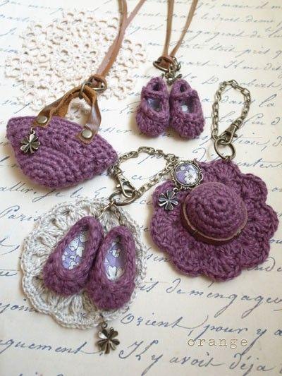 mini shoes * bag * hat of orange crochet
