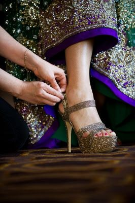 Glamorous hand stitched and beaded #Indian #bridal #gown and fabulously #blinged out #shoes.