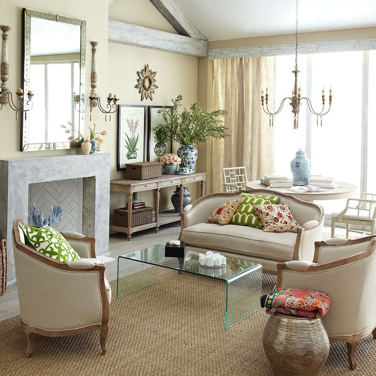 European nude sitting room - like the color scheme and mantle decor.