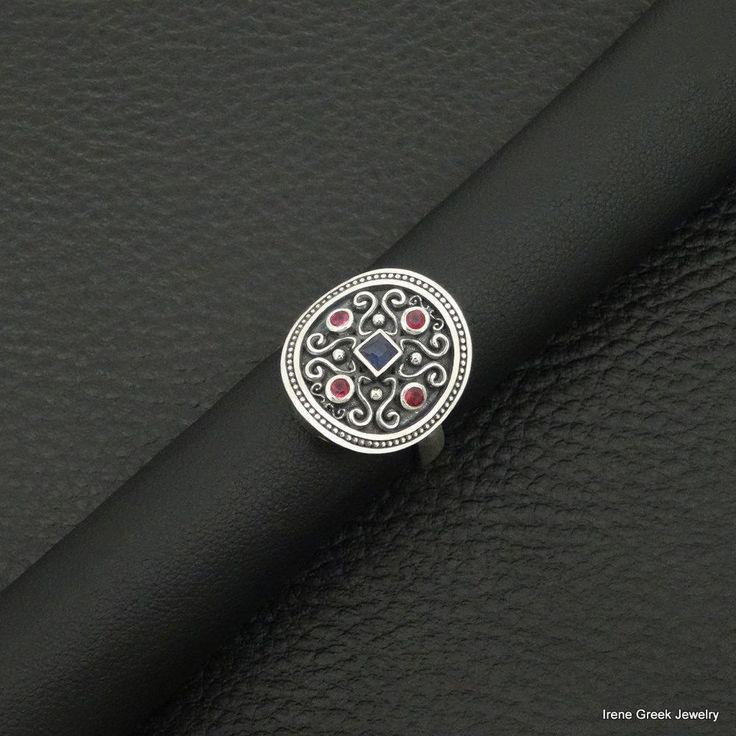 SAPPHIRE RUBY CZ BYZANTINE STYLE 925 STERLING SILVER GREEK HANDMADE RING #IreneGreekJewelry #Cocktail