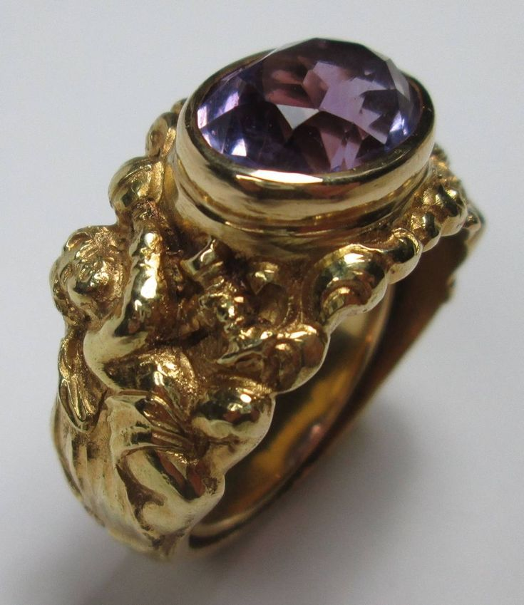 Antique Amethyst Gold Bishop Ring   From a unique collection of vintage signet…