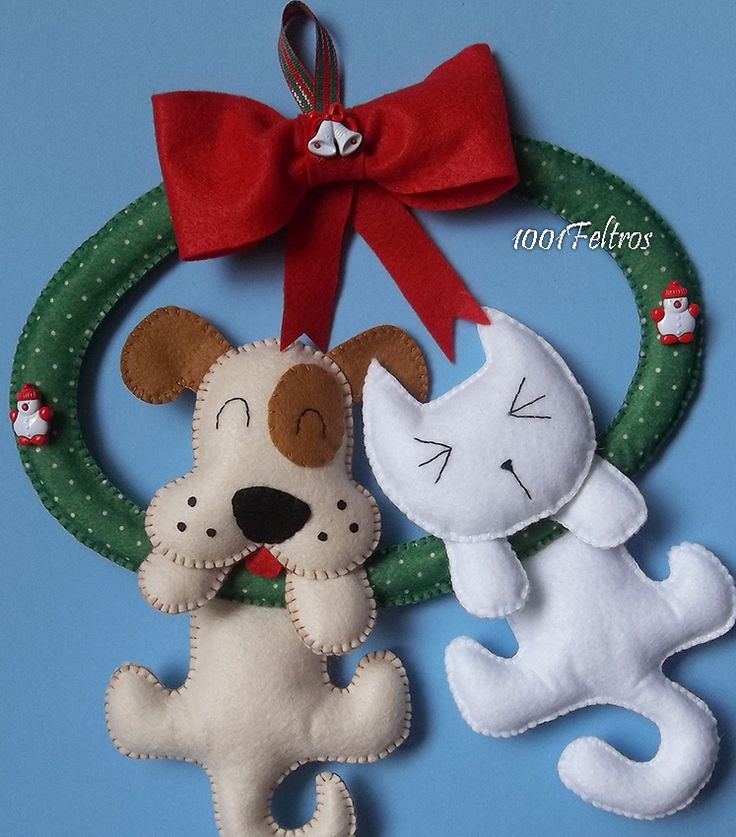 1001 Feltros: Apostila *Guirlanda de Natal com gatinho e cachorrinho*