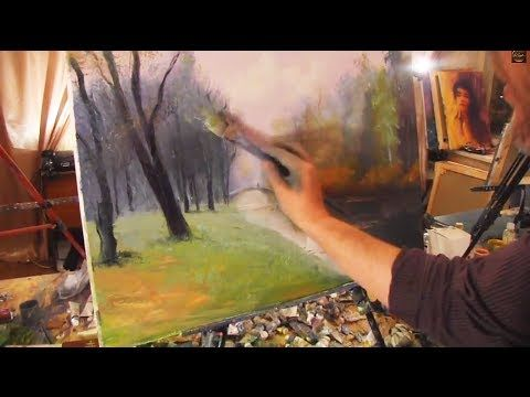 Речка в лесу,Художник Игорь Сахаров, уроки рисования, - YouTube