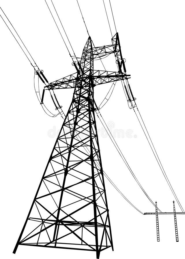 Power Lines And Electric Pylons Vector Silhouette Of Power Lines And Electric P Aff Electric Lines Tractor Silhouette Architecture Images Vector Free