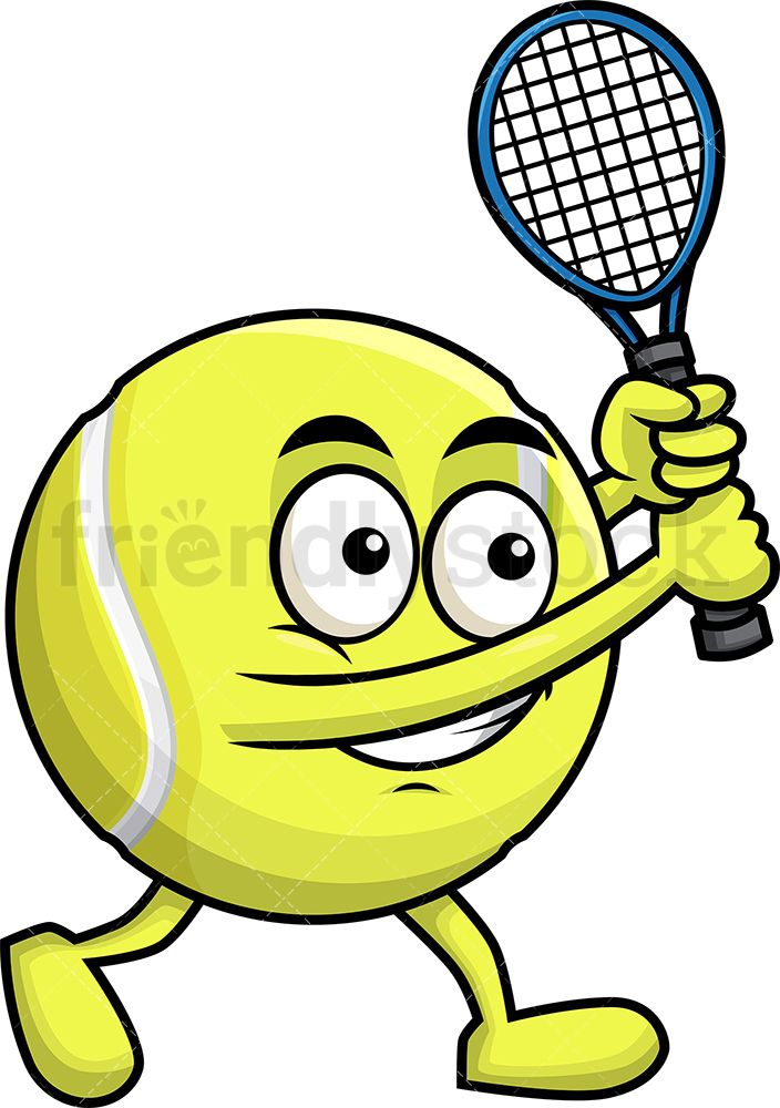 Tennis Ball Holding A Racket Cartoon Clipart Vector Friendlystock Tennis Ball Cartoon Clip Art Tennis