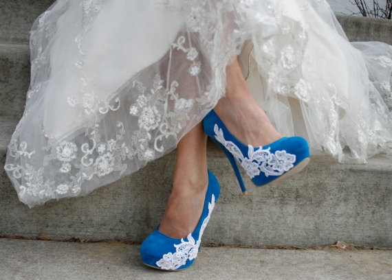 Turquoise Wedding Heel With Venise Lace Applique. I want these in Royal Blue