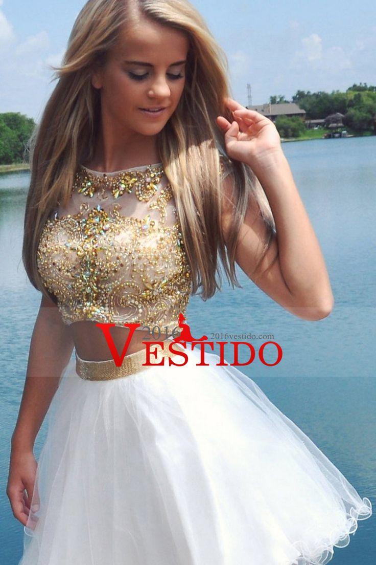 2016 de dos piezas Scoop una línea corta / mini Vestidos de Fiesta de tul con cuentas Corpiño