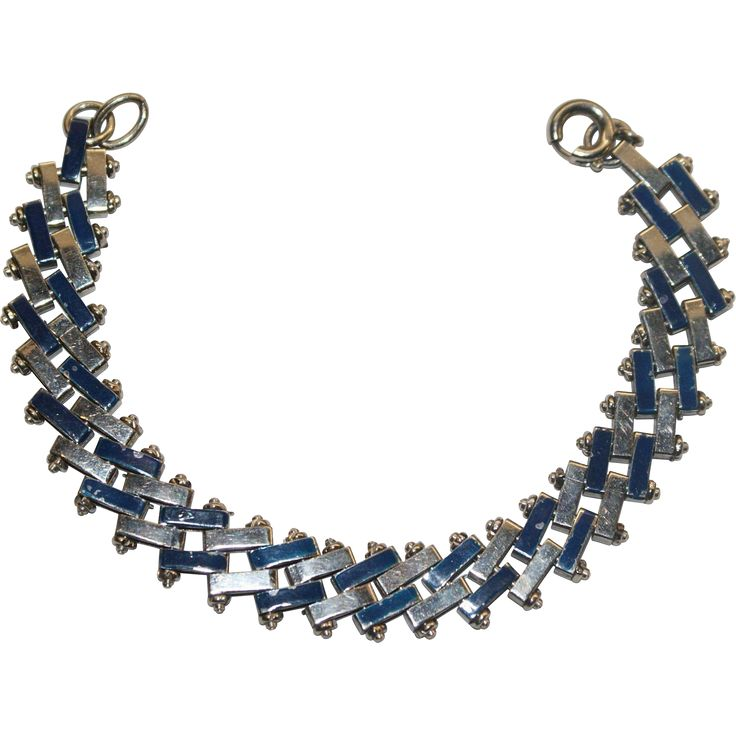 Jakob Bengel Blue Enamel and Chrome Art Deco Bracelet