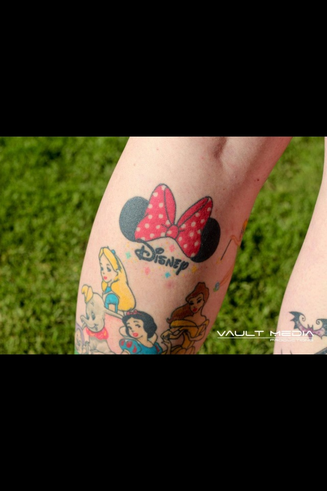 Disney tattoos - I love the Minnie bow and Disney script!