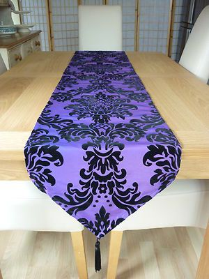 Details About Purple And Black Damask Taffeta And Flock Goth Fabric Wedding  Table/bed Runners
