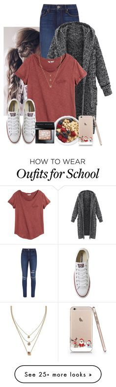 """School Morning Expectations"" by keilahrodgers on Polyvore featuring Paige Denim, H&M, Converse, Banana Republic and Bobbi Brown Cosmetics"