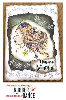 Beautiful You is a new rubber stamp from Rubber Dance, designed by Deborah Wainwright. Beautiful woman stamp with florish hair.