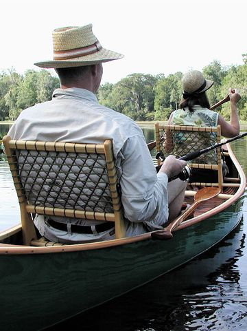 I would paddle around the world in this Merrimack canoe with these lovely seats #taiganholiday