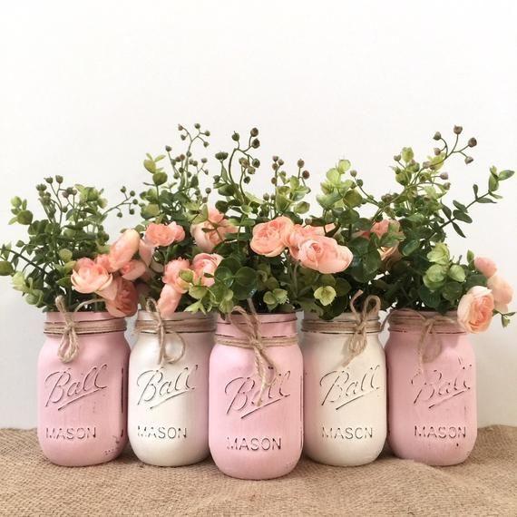 distressed painted mason jars, pink mason jars for baby showers, pink mason jar centerpieces, pink m