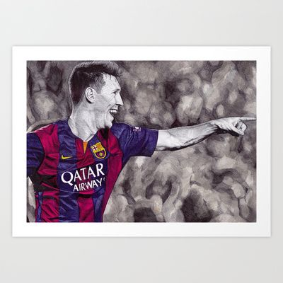 """ART PRINT/ MINI (10"""" X 8"""")  DeMoose_Art (demoose21) Leo Messi Drawing by DeMoose_Art $20.00 Free Worldwide Shipping Available Today!"""
