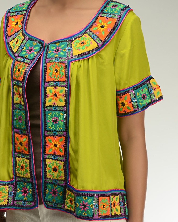 Chartreuse Green Top with Floral Embroidery - <3 it !