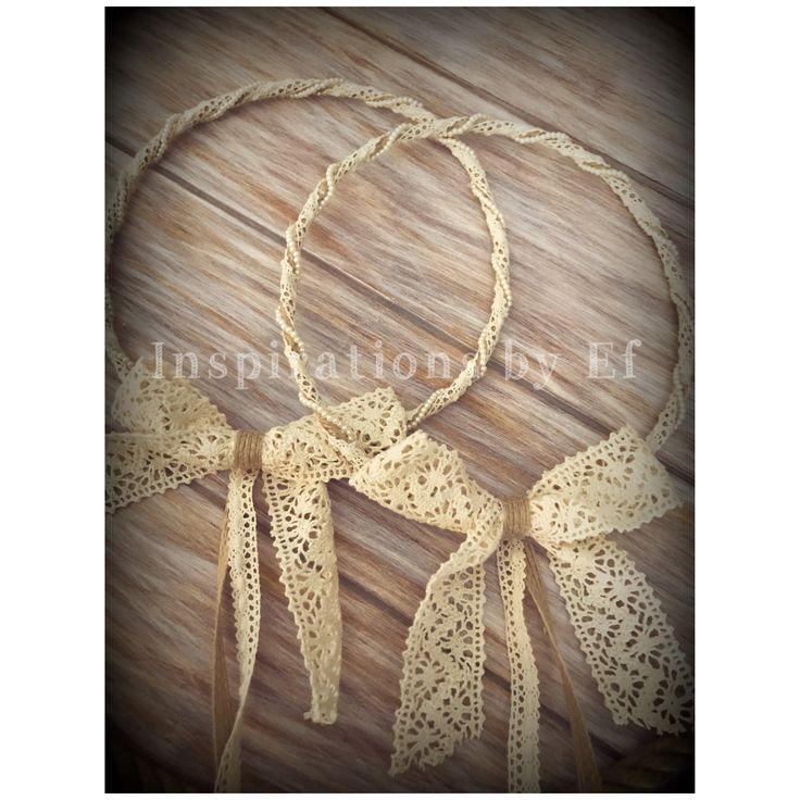 """Ονειρεμένα στέφανα """"Βάλια""""...εμπνευσμένα από την όμορφη νυφούλα μας.. #stefana #wedding #weddingcrowns #handmade #burlap #lace #InspirationsbyEf"""