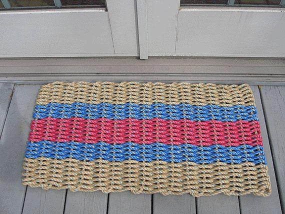 Tan Nantucket red and blue handwoven doormat by bassriverropemats, $48.00