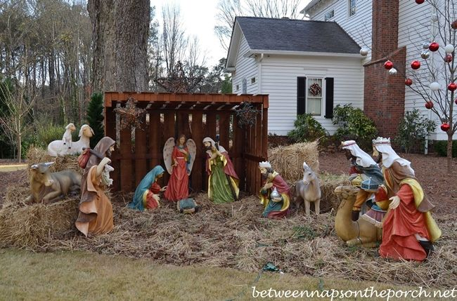 Outdoor Lighted Nativity Scene With Green Carpet | Christmas Time ...