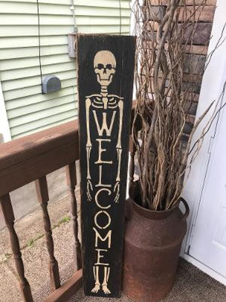 Skeleton HAlloween porch Primitive Sign in 2020
