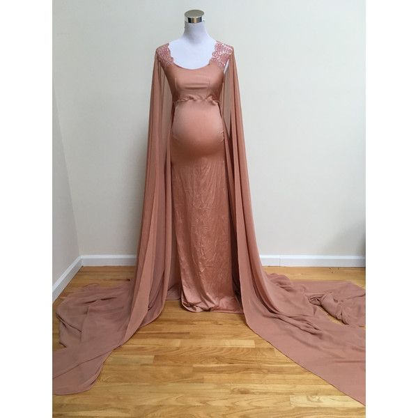 Ready to Ship Vintage Bronze Fitted Maternity Cape Gown With Long... ($168) ❤ liked on Polyvore featuring maternity, dresses, silver and women's clothing